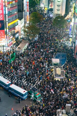 Unbelievable crowd of people in shibuya district during halloween celebration. Halloween has become a massive hit in Tokyo in recent years.
