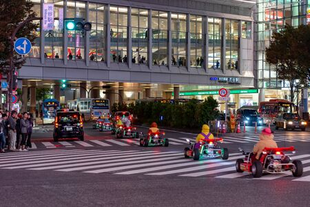 Mario kart on Shibuya district in Tokyo, Japan. Shibuya Crossing is one of the busiest crosswalks in the world. 報道画像