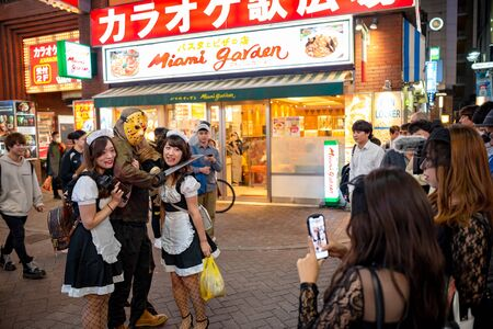 Shibuya Halloween in 2018. Costume revelers at Shibuya district during Halloween celebration. Halloween has become a massive hit in Tokyo in recent years.