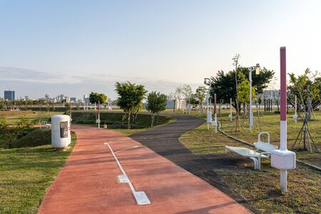 Taichung Central Park at the Shuinan Economic and Trade Area in blue sky sunny day. Former Shuinan Airport, lot of green space in here, the second largest park in Taiwan. Xitun District, Taichung City