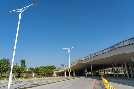 Street view of Shuinan Economic and Trade Area in blue sky sunny day. Former Shuinan Airport, lot of green space in here. Xitun District, Taichung City, Taiwan