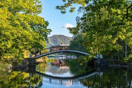 Onuma Quasi-National Park. Sunny day scenery landscape. Oshima Subprefecture, Town Nanae, Hokkaido, Japan