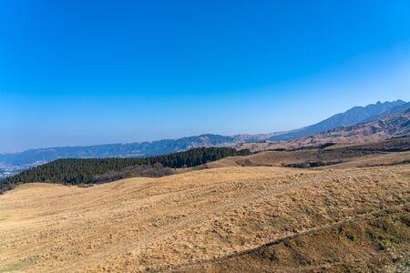 Scenery landscape on the Mount Aso highland in Aso Kuju National Park in January, Kumamoto Prefecture, Japan