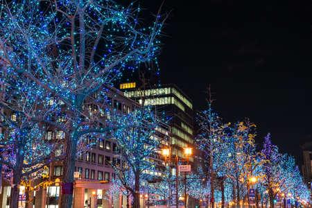 Festival of the Lights in Osaka. The winter illumination events, Midosuji Illumination, Hikari Renaissance. popular tourist attraction, travel destination for vacation. Osaka, Japan Editorial