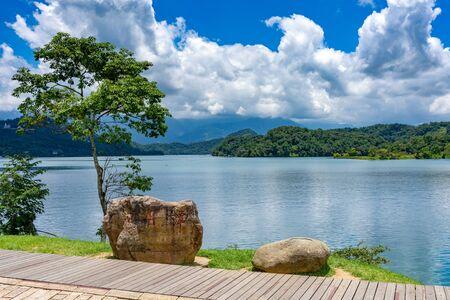 Sun Moon Lake National Scenic Area walking path in Yuchi Township, Nantou County. The largest body of water in Taiwan Stok Fotoğraf