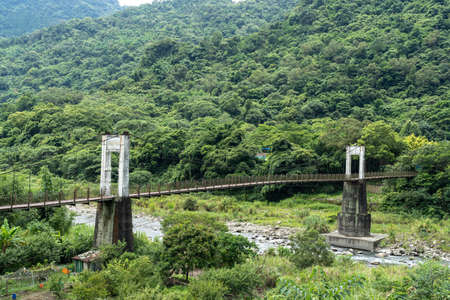 Neiwan Bridge, a suspension footbridge in Hengshan Township, Hsinchu County, Taiwan. 写真素材