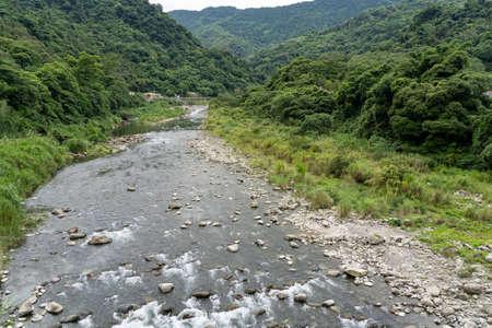 Youluo River, looking out from the Neiwan Bridge, Hengshan Township, Hsinchu County, Taiwan.