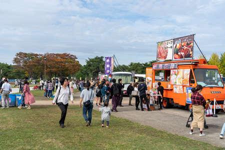 Many local food vendors in the Hitachi Seaside Park during red kochia carnival. Ibaraki Prefecture, Japan. 報道画像