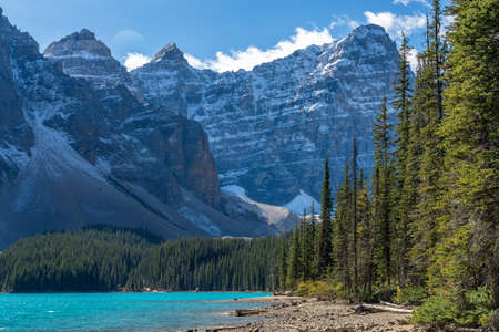 Moraine lake beautiful landscape in summer to early autumn sunny day morning. Sparkle turquoise blue water, snow-covered Valley of the Ten Peaks. Banff National Park, Canadian Rockies, Alberta, Canada