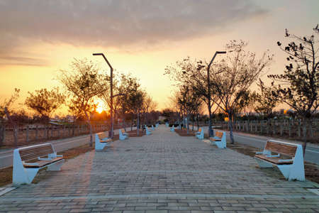 Taichung Central Park pathway in dusk. Xitun District Shuinan Economic and Trade Area. Former Shuinan Airport. The second largest park in Taiwan.