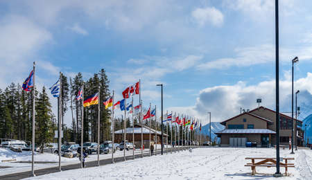 Canmore, AB, Canada-OCT 24 2020: Canmore Nordic Centre Provincial Park in winter sunny day morning. The provincial park was originally constructed for the 1988 Winter Olympics. Sajtókép