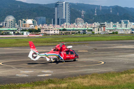 Taipei, Taiwan-FEB 14, 2021: Republic of China National Airborne Service Corps Helicopter stand by at Songshan Airport. Sajtókép