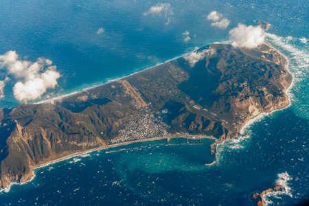 Aerial view of Niijima Island in the morning, Tokyo, Japan.