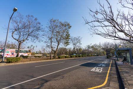 Taichung City, Taiwan-JAN 30, 2021: Taichung Metropolitan Park Bus stop. an urban park in Xitun District.