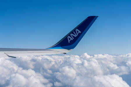 All Nippon Airways (ANA) Airplane wing with blue sky white clouds horizon in the background. Sajtókép