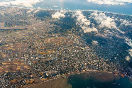 Aerial view of Tateyama city, Minamiboso city, south Boso Peninsula, Chiba Prefecture, Japan. Stock fotó