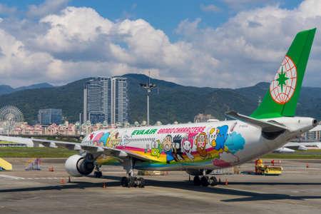 Taipei, Taiwan-FEB 14, 2021: Eva Air Hello Kitty Plane back view.