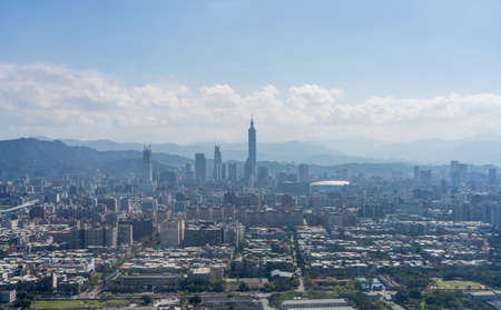Aerial view of Taipei city in a sunny day. Taipei city skyline, Taiwan.