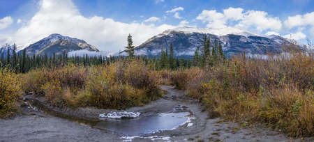 Snow capped Mount Lady MacDonald and Grotto Mountain in autumn. Beautiful natural scenery landscape at Canmore, Canadian Rockies, Alberta, Canada.
