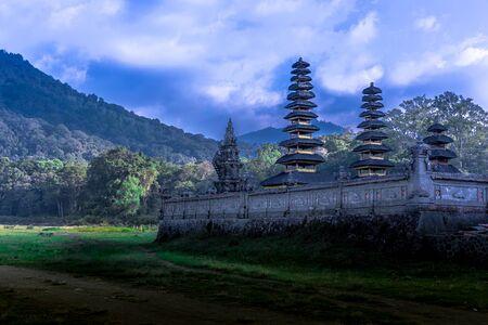 Pura Hulun Danu Batur Pusat temple at blue hour in Bali, Indonesia