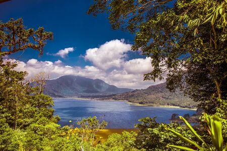 A beautiful view of Lake Batur in Bali, Indonesia Stock Photo