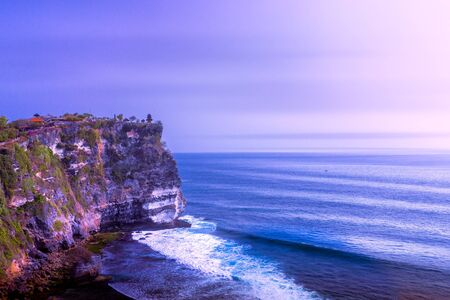 Blue hour at Uluwatu Temple in Bali, Indonesia Stock Photo