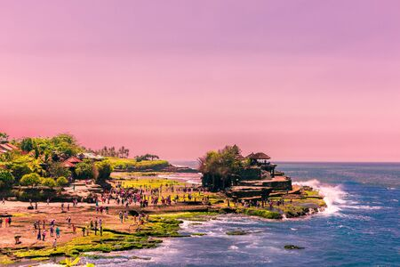 Sunset at Tanah Lot in Bali, Indonesia Stock Photo
