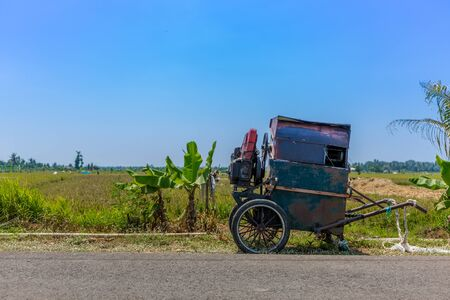 A wagon left unattended with a blue sky and green crops in Bali, Indonesia