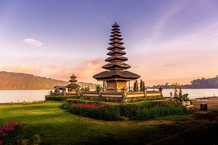 Sunset at Ulun Danu Beratan Temple in Bali, Indonesia
