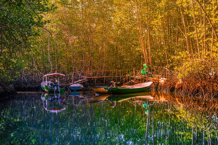 Fishing boats docked in the river within the Mangrove Forest of Nusa Lembongan in Indonesia Stock Photo