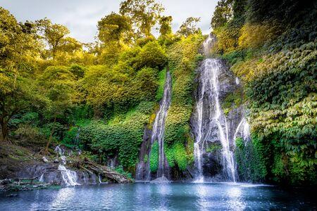 Banyumala Twin Waterfalls in Bali, Indonesia Stock Photo