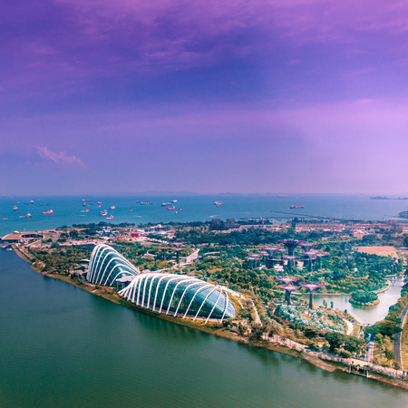 Modern aerial panoramic view of Gardens by the Bay and the Singapore Strait at dusk with a deep blue sky in Singapore, Asia