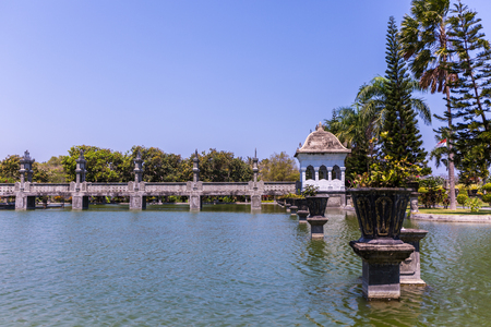 View of the lake at Ujung Water Palace (also known as Ujung Park or Sukasada Park) in Bali, Indonesia