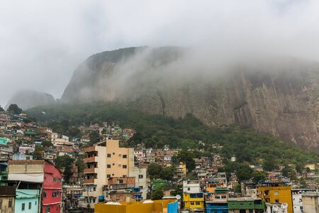 Rocinha favela, also known as a slum or shanty town, built on a steep hillside in the South Zone of Rio Di Janeiro, Brazil, South America