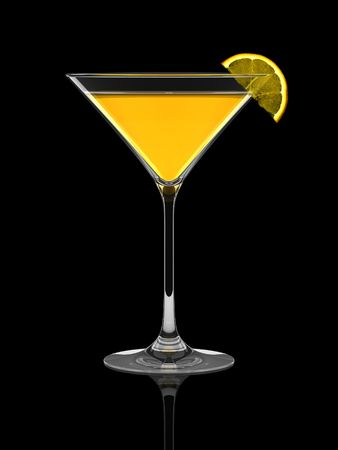 Fresh summer cocktail with orange slice over black background photo