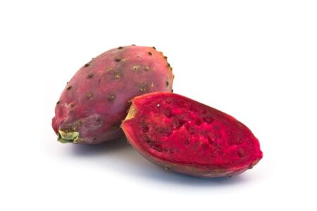 sabre's: Cut dragon fruit on white background