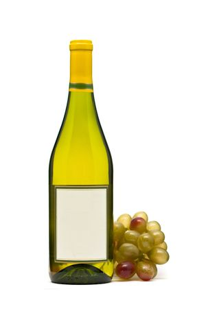 White wine bottle with grapes over white background photo