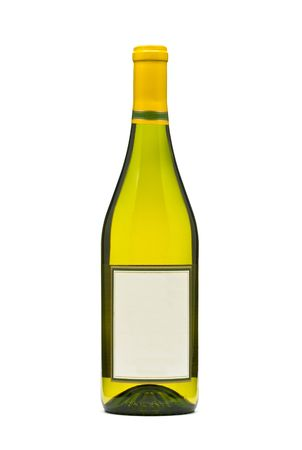 Filled white wine bottle over white bacground Stock Photo - 6714909