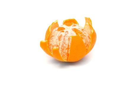 Sequence of single orange unfolding over white background Stock Photo - 6805426