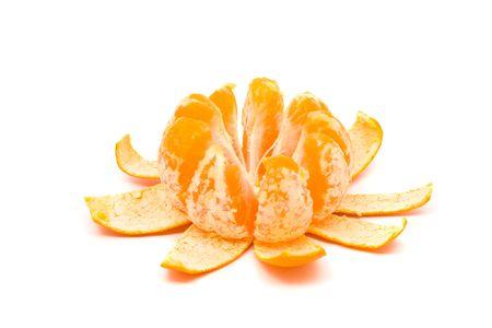 Sequence of single orange unfolding over white background Stock Photo - 6805431