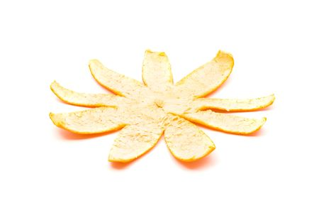 Sequence of single orange unfolding over white background Stock Photo - 6805434