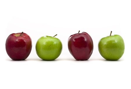 Series of red and green apples over white background Stock Photo - 6798243