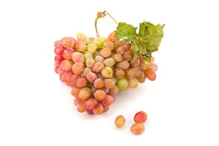 Bunch of white and red grapes over white background Stock Photo - 6798251