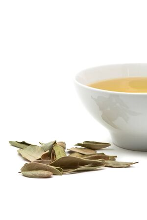 robustness: Freshly brewed herbal tea with leaves over white background