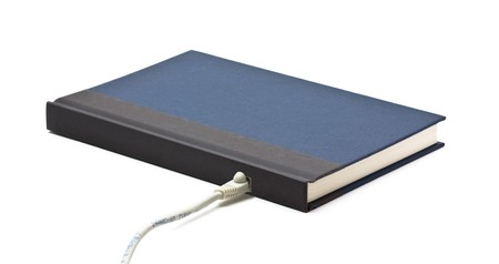 electronic book: Book with network adapter over white background