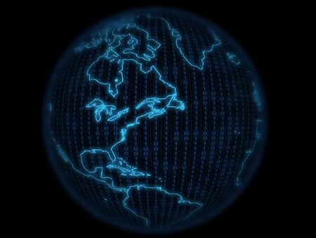 abstrakt: Digital globe with continental outlines over black background Stock Photo