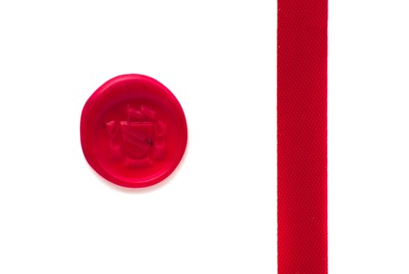 Red wax seal and ribbon over white background Stock Photo - 7136023