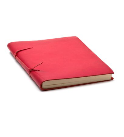 Vintage red leather notebook over white background  Stock Photo - 7136026