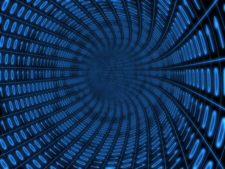 abstrakt: Digital binary blue tunnel over black background Stock Photo