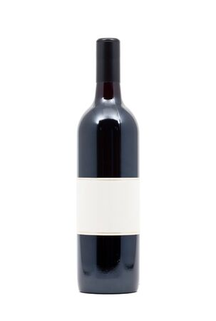 Filled red wine bottle over white background Stock Photo - 7164866